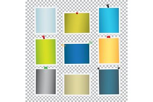 Colorful Frames for Pictures with Pins Vector Set