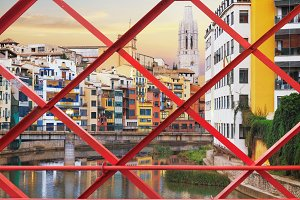 Old Girona town, view on river Onyar