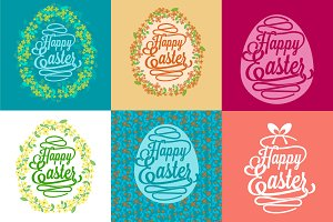 6 Happy Easter greetings cards