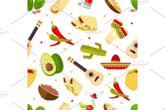 Aztec Theme Cartoon Mexican Food Tequila Red Hot Chili Peppers Sombrero Guitar Tacos Cactus Vector Seamless Pattern