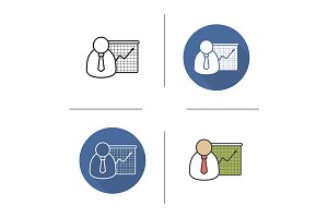 Business presentation icons. Vector