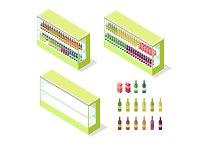 Wine in Groceries Showcase Isometric Vector