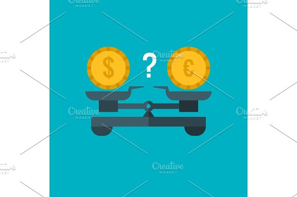 Currency Comparison Of Dollar And Euro With Weighing Scale Balance Banking And Finance Vector Business Concept
