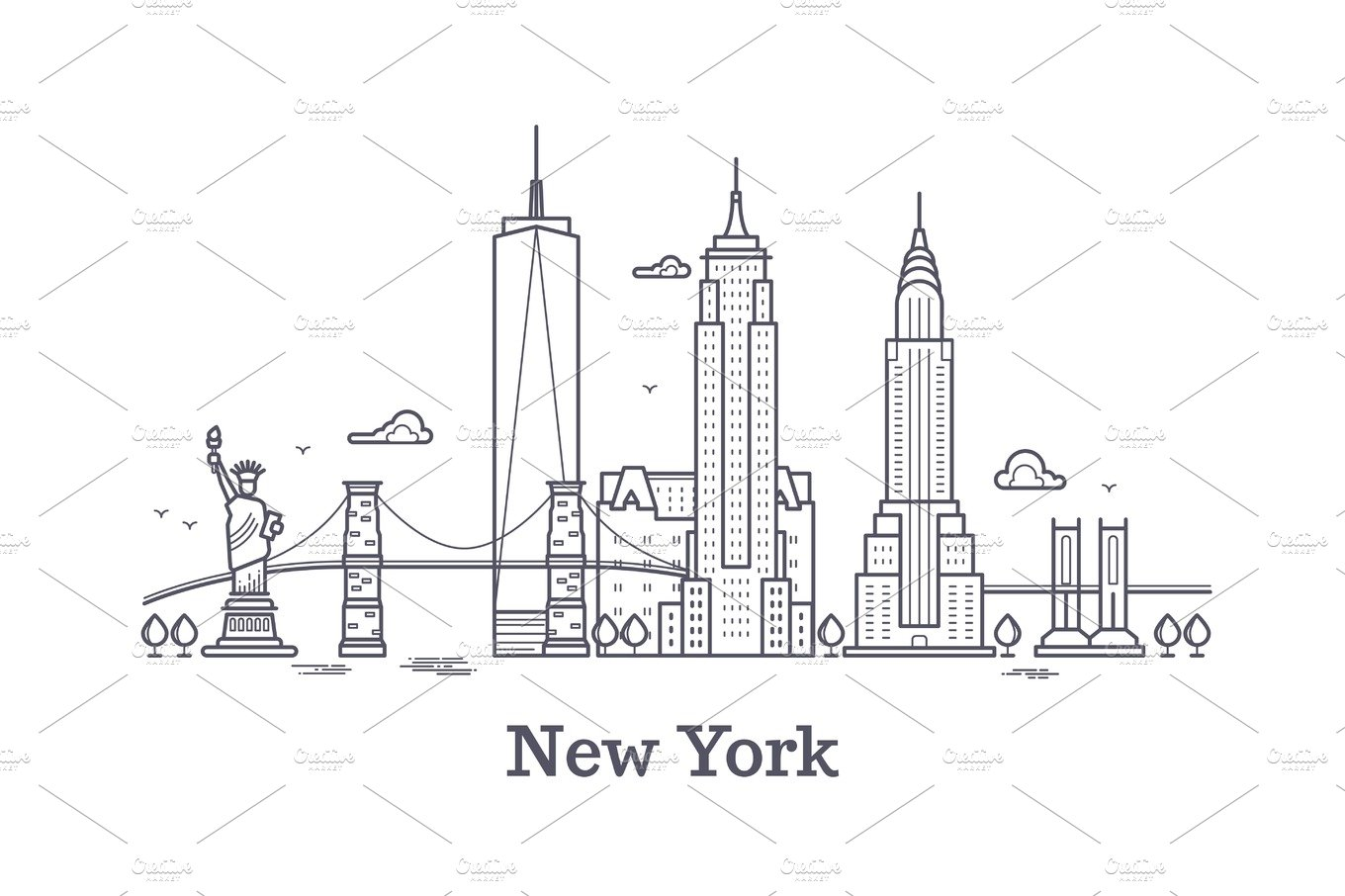 Line Drawing New York City Skyline : New york city outline skyline nyc line silhouette usa