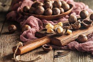 Macadamia nuts on table