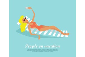 People on Vacation Girl on Deck Chair Makes Selfie
