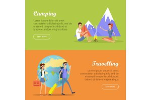 Camping Travelling Posters. Web Banners, Marketing