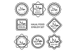 Halal food product labels