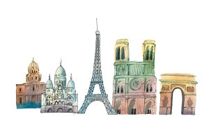 City of Paris Skyline famous landmarks travel and tourism waercolor illustration