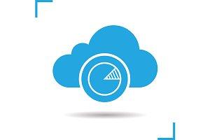 Cloud server statistics icon. Vector