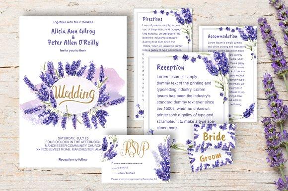 Wedding Invitation Lavender Diy Invitation Templates Creative Market