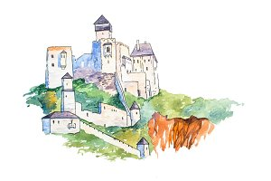 Trencin castle on top of the hill famous landmarks travel and tourism waercolor illustration