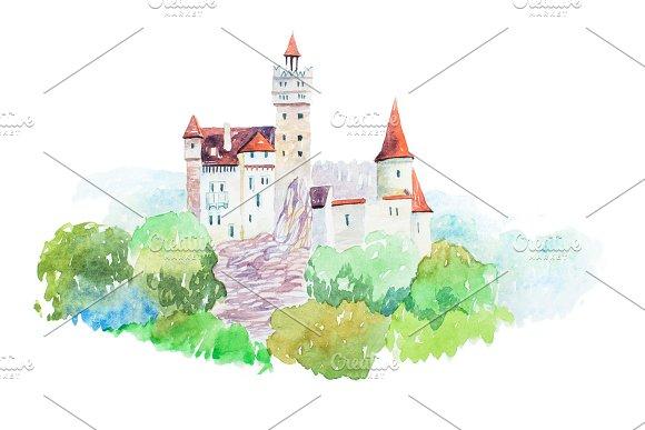 Dracula Medieval Castle Bran Famous Landmarks Travel And Tourism Waercolor Illustration