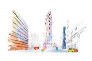 Modern buildings in urban city low angle view watercolor illustration.