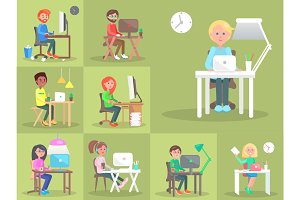 Set of People at Computer in Office Cartoon Style