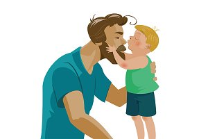 Son kissing his dad. Love.