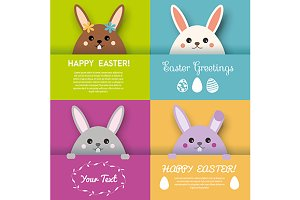Easter greeting cards. Cute bunnies
