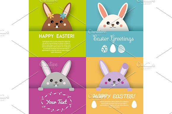 Easter greeting cards cute bunnies card templates creative market easter greeting cards cute bunnies cards m4hsunfo