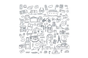 Hand drawn travel, tourism doodles elements vector illustration.