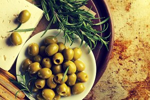 Tasty beautiful green olives. Above
