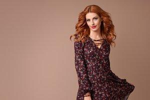 Fashion Boho woman in Spring Summer Floral Dress