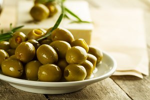 Tasty beautiful green olives. Close
