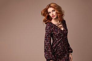 Fashion Boho Redhead Woman Floral Dress. Hairstyle