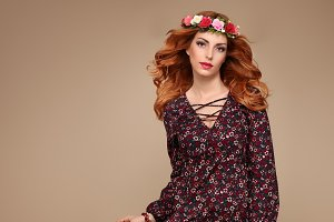 Fashion Boho Redhead woman in Summer Flower Wreath