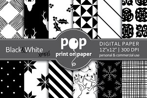Black&White Christmas Digital Paper