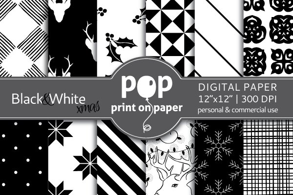 Black&White Christmas Digital Paper