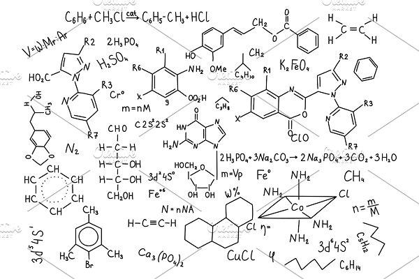 Hand drawn chemistry formulas Science knowledge education
