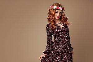 Fashion Boho Redhead woman in Summer Flower Wreath