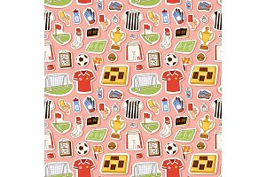 Soccer icons vector illustration seamless pattern