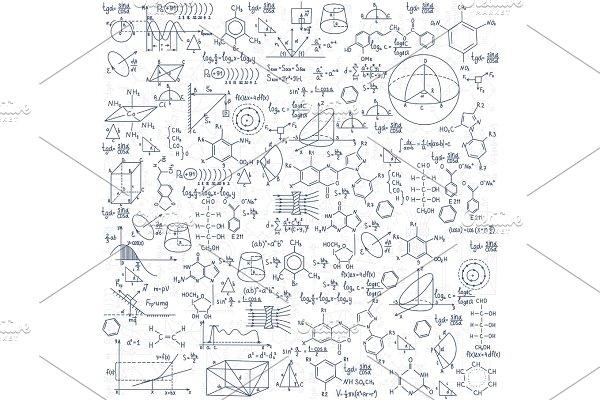 Hand drawn doodle formulas Science knowledge education