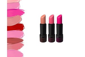 Vector lipstick set on white background. Beauty illustration