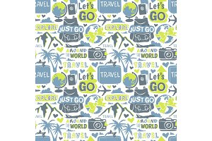 Travel motivation badge vector seamless patterns