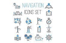 Navigation outline black location pin pictogram direction and search design earth web blue icons global pointer set map thin sign vector illustration.