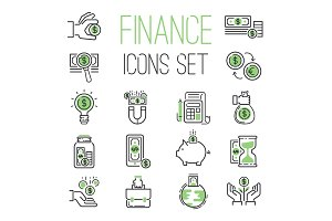Finance money business outline black wealth accounting graph savings and cash investment banking financial green bank icons set vector illustration.