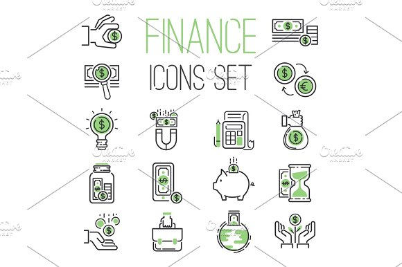 Finance Money Business Outline Black Wealth Accounting Graph Savings And Cash Investment Banking Financial Green Bank Icons Set Vector Illustration