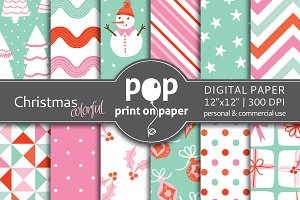 Colorful Christmas Digital Paper