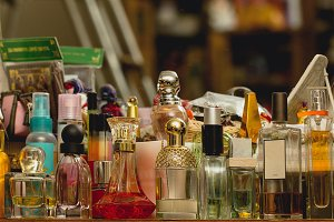 Perfume bottles on shelf