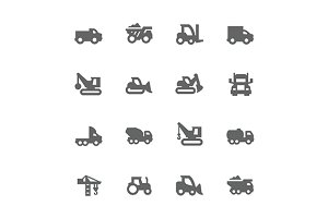 Simple Construction Vehicles Icons