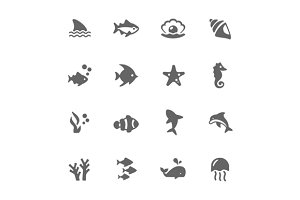 Simple Marine Life Icons