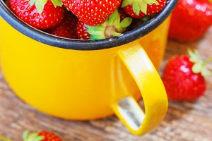 Strawberry Garden Rustic Cup Summer Food yellow Metal Background Selective Focus
