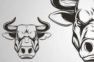 Ferocious bull head