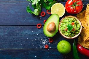 Colourful guacamole composition