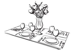 Festive dinner sketch