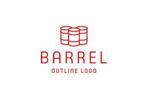 Barrels oflet style logo for the company of high-quality vector icons