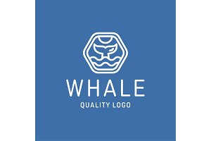 Diving with whale fin abstract sign icon vector into flat style.