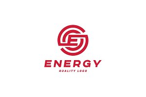 Techno energy sign with letter E vector style flat art